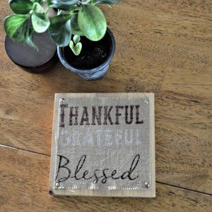 Burlap and Wood Thankful Grateful Blessed Wall Art